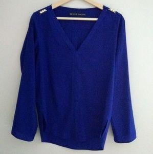 Zara Basic blue blouse